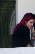 BELLA THORNE and Her Boyfriend Blackbear on the Balcony of Their Hotel in Los Angeles 07/20/2017