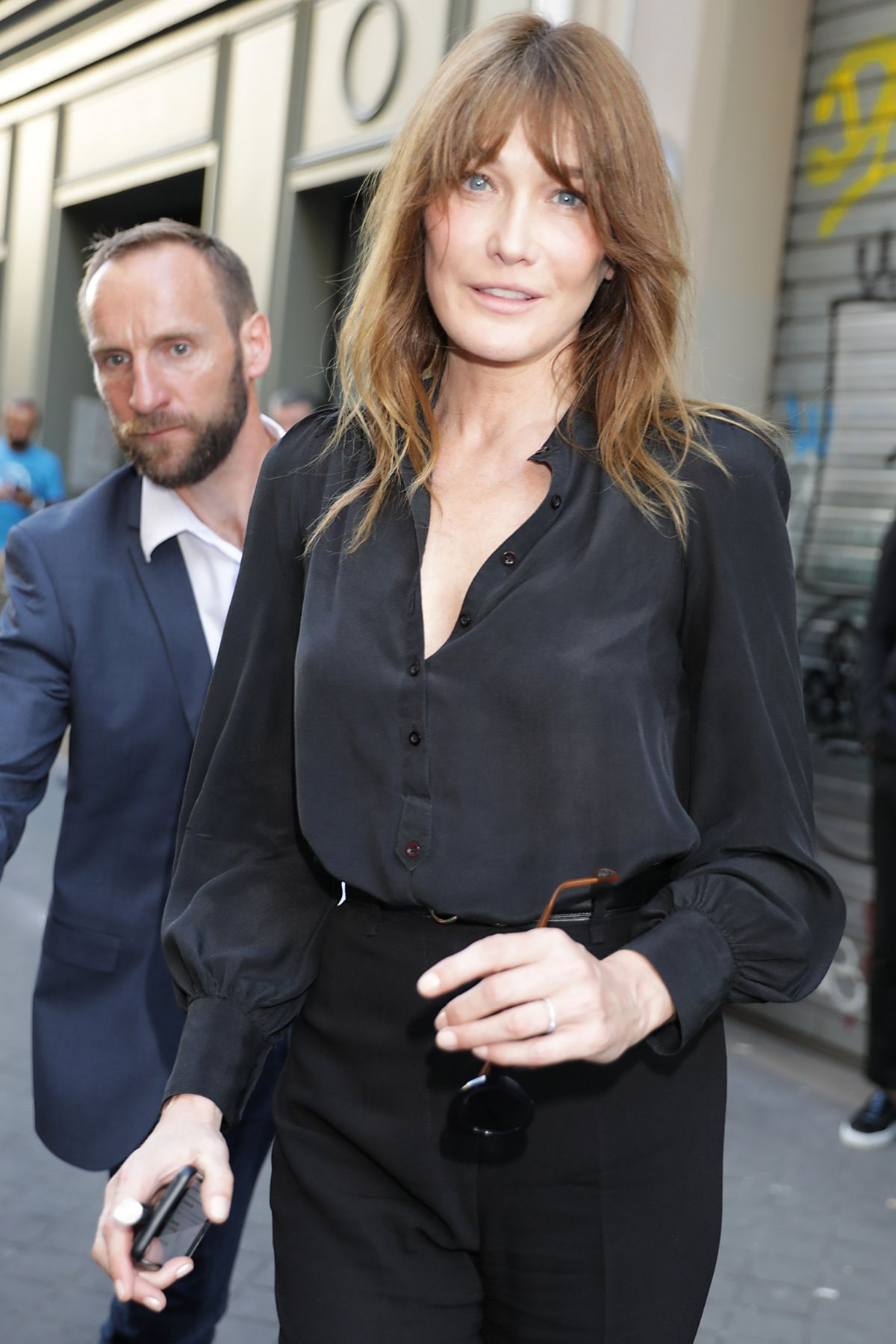 CARLA BRUNI Leaves Azzedine Alaia Fashion Show at Haute Couture Paris Fashion Week 07/05/2017