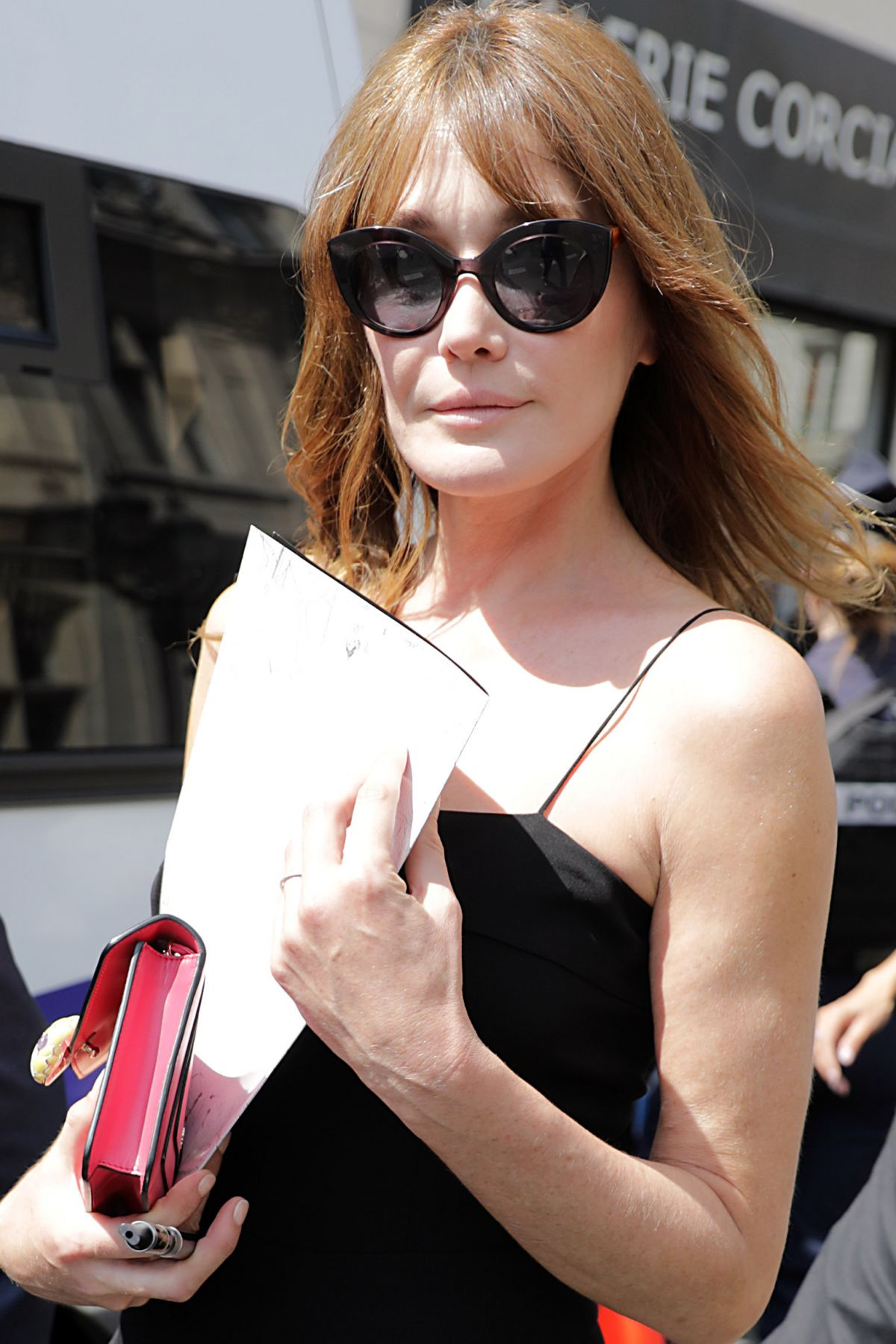 CARLA BRUNI Leaves Jean Paul Gaultier Fashion Show at Haute Couture Fashion Week in Paris 07/05/2017