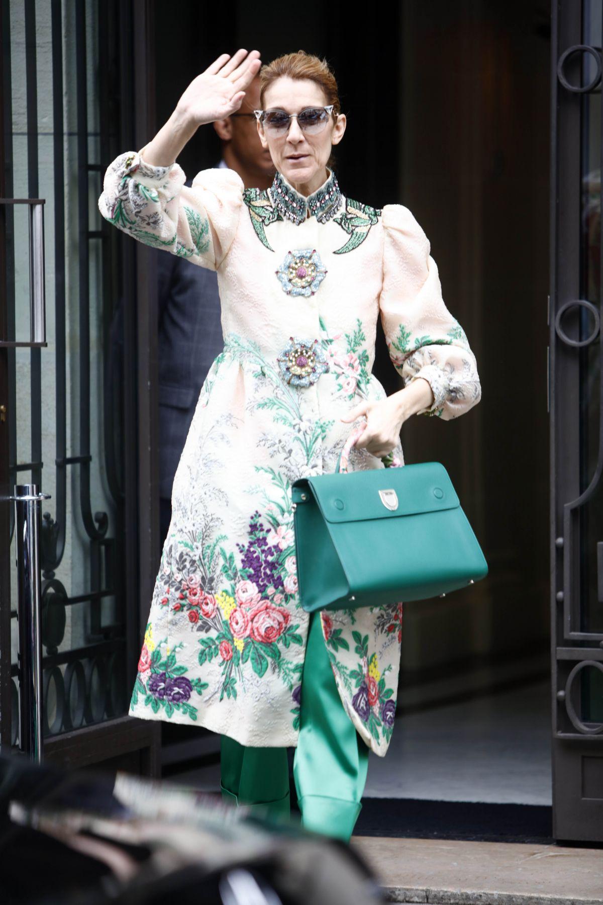CELINE DION Leaves Her Hotel in Paris 07/02/2017