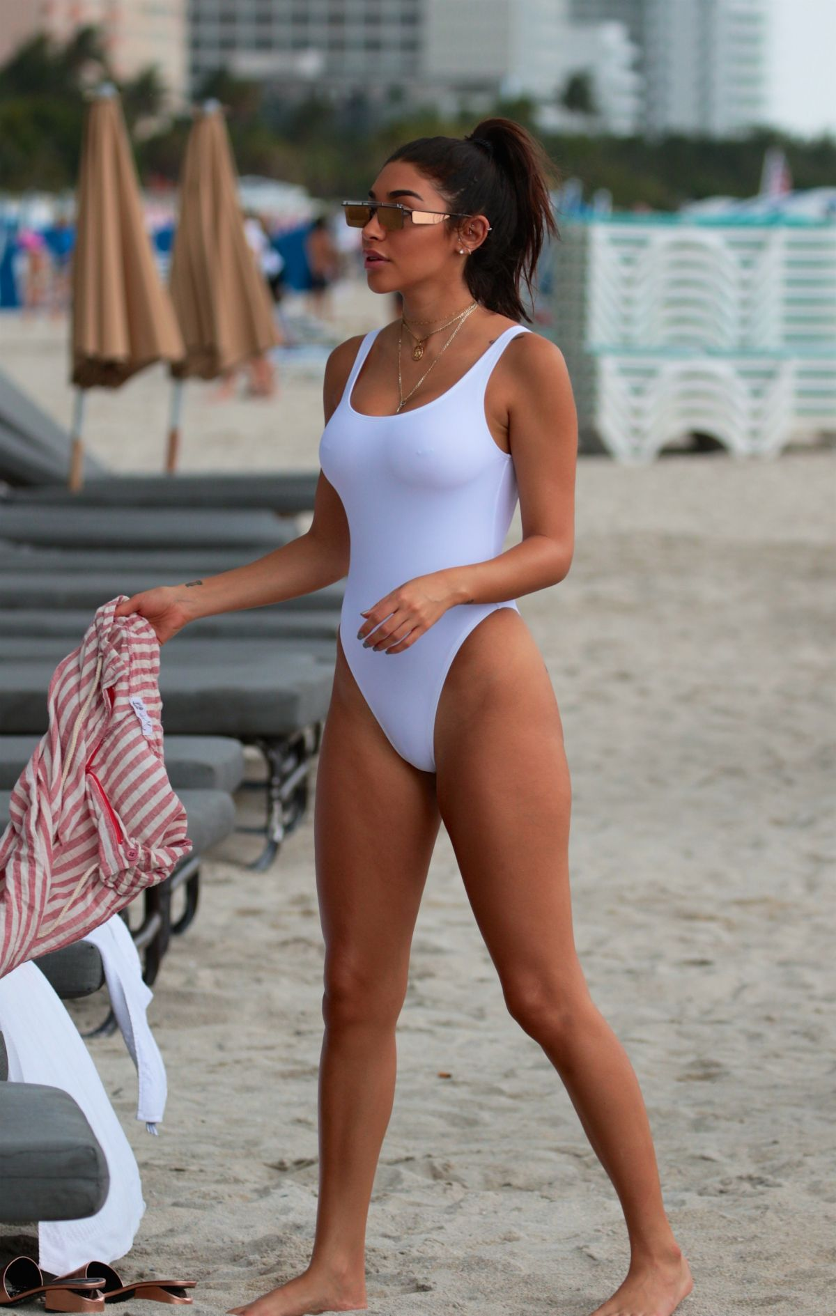 CHANTEL JEFFRIES in Swimsuit at a Beach in Miami 07/21/2017