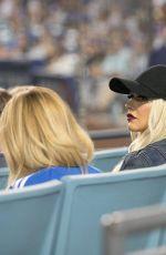 CHRISTINA AGUILERA at LA Dogers vs Atlanta Braves Game in Los Angeles 07/21/2017