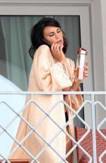 CLAUDIA GALANTI at Her Balcony of a Hotel in Porto Cervo 07/09/2017