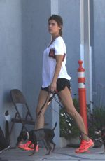 ELISABETTA CANALIS with Her Dog Leaves Animal Hospital in Beverly Hills 06/29/2017