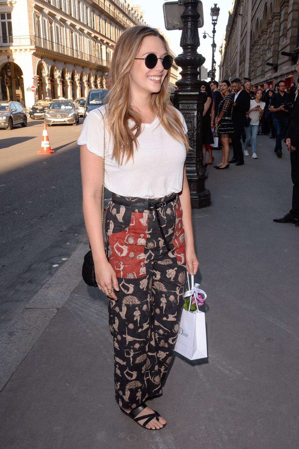 ELIZABETH OLSEN Arrives at Christian Dior Exhibition Party in Paris 07/03/2017