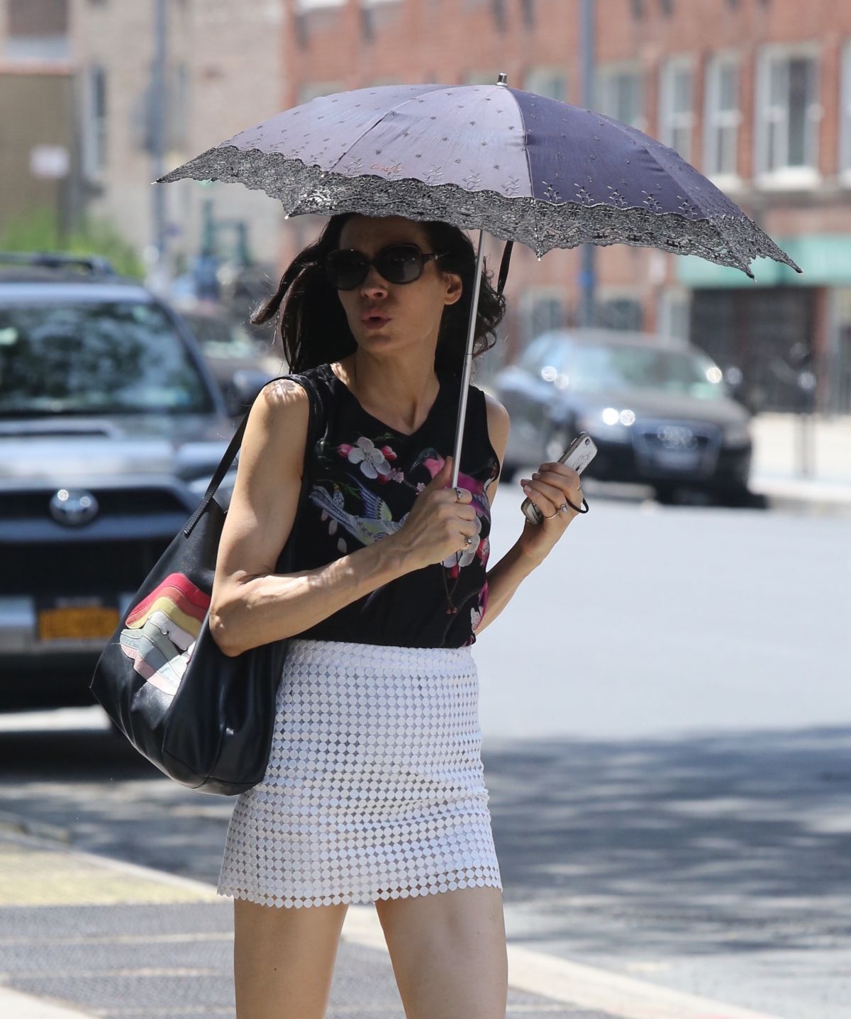 FAMKE JANSSEN Out and About in New York 07/07/2017