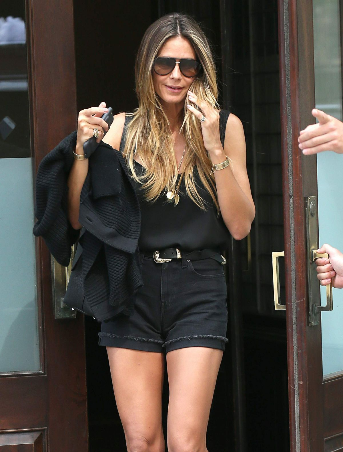 HEIDI KLUM in Shorts Leaves Her Hotel in New York 07/10/2017