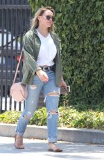 HILARY DUFF in Ripped Jeans Arrives at a Hair Salon in Los Angeles 07/07/2017