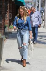 HILARY DUFF in Ripped Jeans Out and About in Beverly Hills 07/28/2017