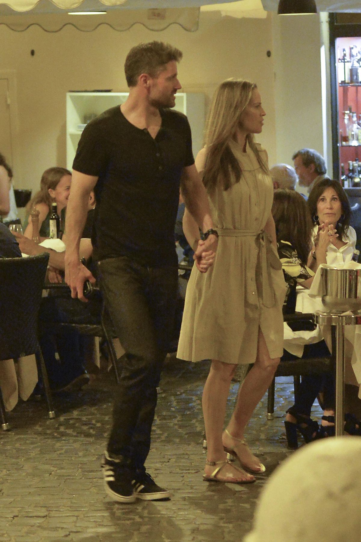 HILARY SWANK and Philip Schneider at Dinner at Pierluigi Restaurant in Rome 07/20/2017