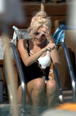 PIXIE LOTT in Swimsuit at Beach Club in Ibiza 07/19/2017