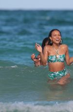 KARREUCHE TRAN and CHRISTINA MILAN in Bikinis at a Beach in Miami 07/11/2017