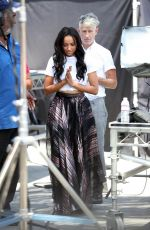 KAT GRAHAM on the Set of Extra in Universal City 07/19/2017