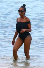 LATOIA FITZGERALD in Swimsuit at a Beach in Miami 07/18/2017