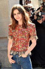 LILY COLLINS at Chanel Fashion Show in Paris 07/04/2017