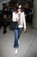 LILY COLLINS at Los Angeles International Airport 07/01/2017