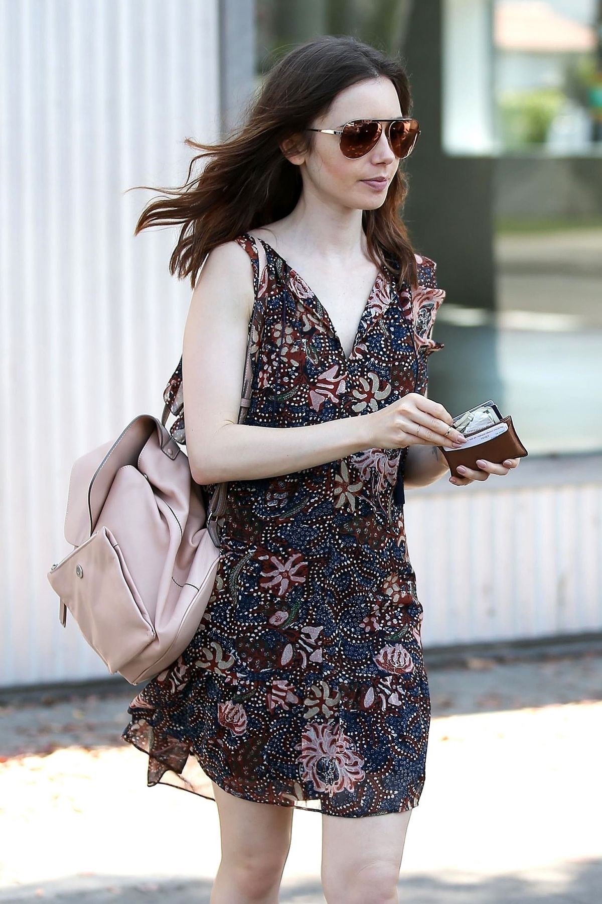 LILY COLLINS in a Dress Out in West Hollywood 07/10/2017