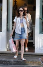 LILY COLLINS in Denim Skirt Out in Ischia 07/16/2017
