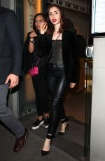 LILY COLLINS in Leather Pants Out in Paris 07/03/2017