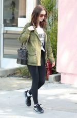 LILY COLLINS Leaves a Gym in West Hollywood 07/11/2017