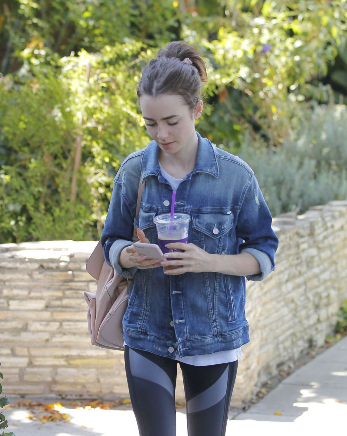LILY COLLINS Out for Ice Tea in Beverly Hills 07/29/2017