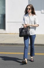 LILY COLLINS Out Shopping in  Beverly Hills 07/07/2017
