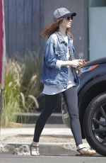 LILY COLLINS Picking up Her Dry Cleaning in Beverly Hills 07/08/2017