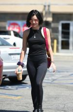 LUCY HALE in Tights Out for Coffee in Los Angeles 07/28/2017