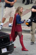 MELISSA BENOIST on the Set of Supergirl in New Westminster 07/27/2017