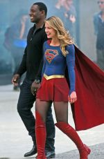 MELISSA BENOIST on the Set of Supergirl in Vancouver 07/16/2017