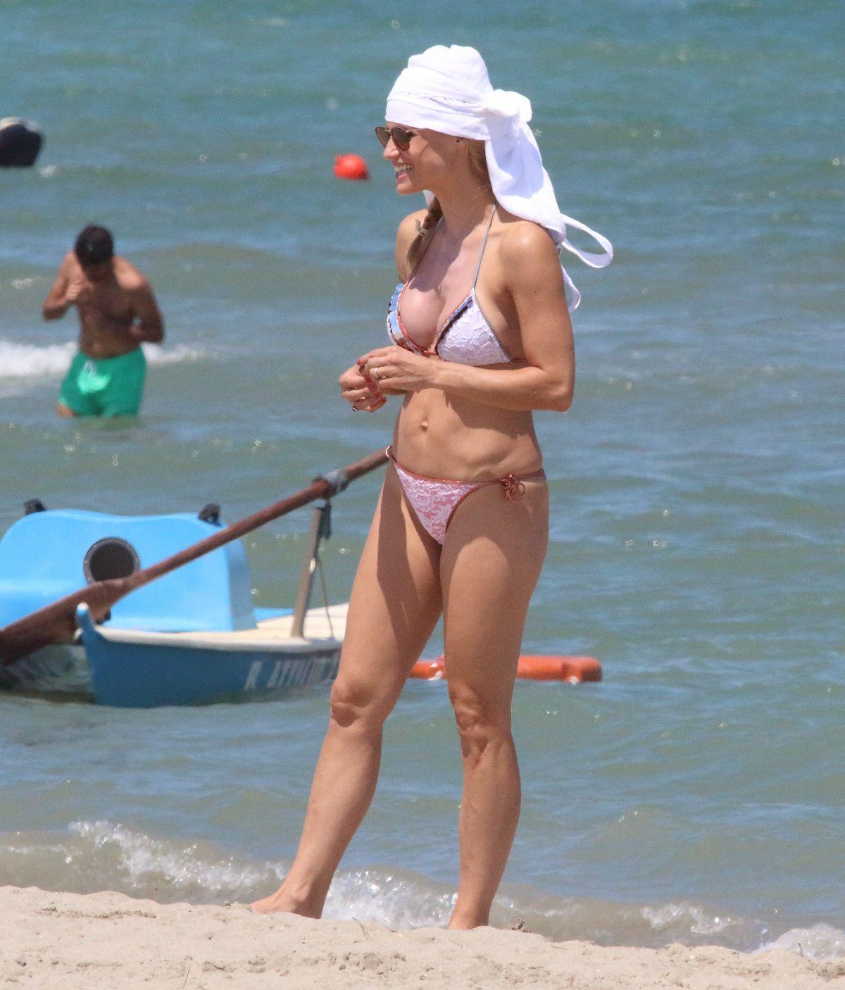 MICHELLE HUNZIKER in Bikini at Milano Marittima 07/02/2017