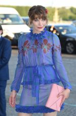 MILLA JOVOVICH Arrives at Mui Mui Fashion Show at Paris Fashion Week 07/02/2017