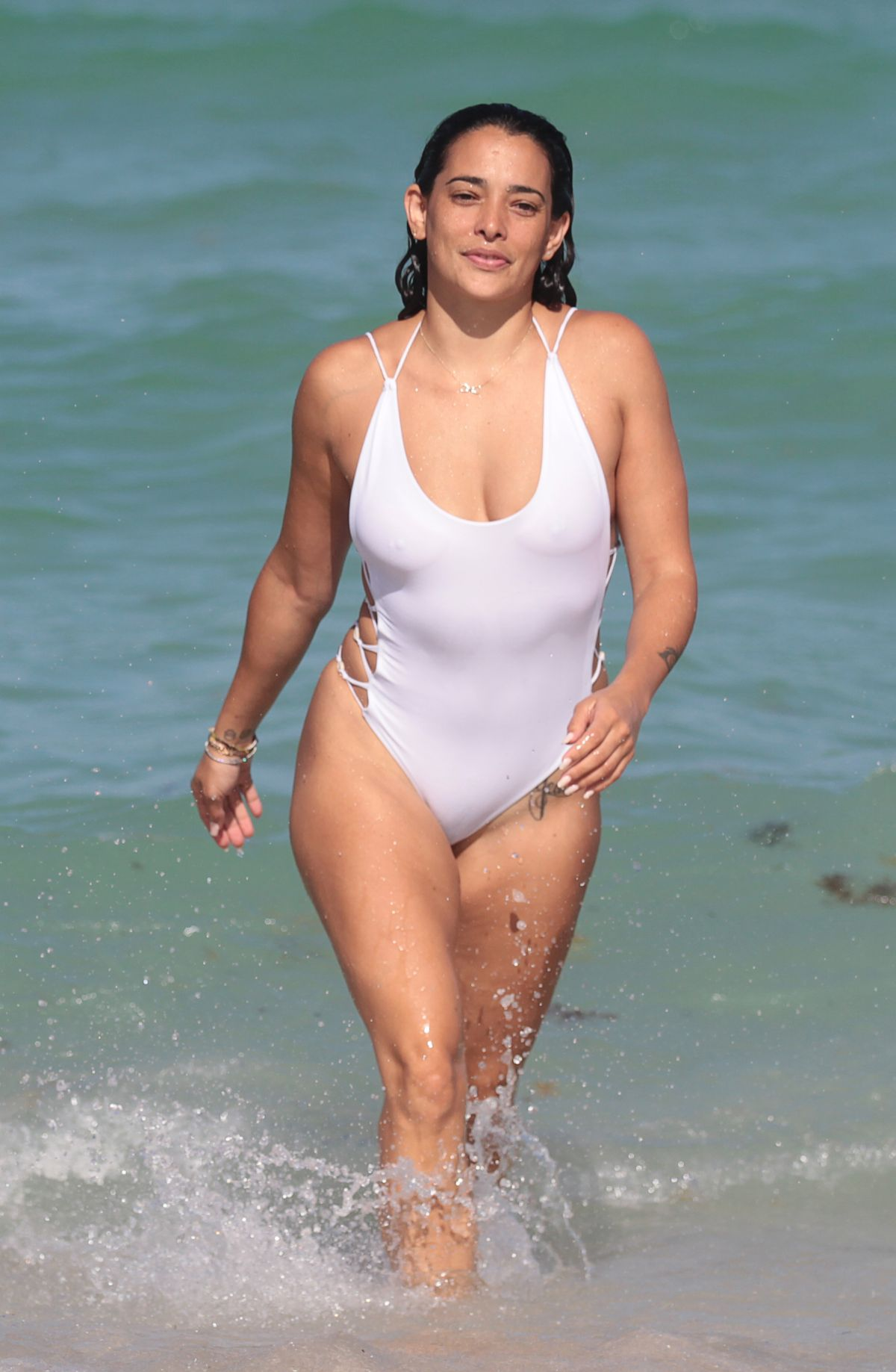 Natalie Martinez In Swimsuit At A Beach In Miami