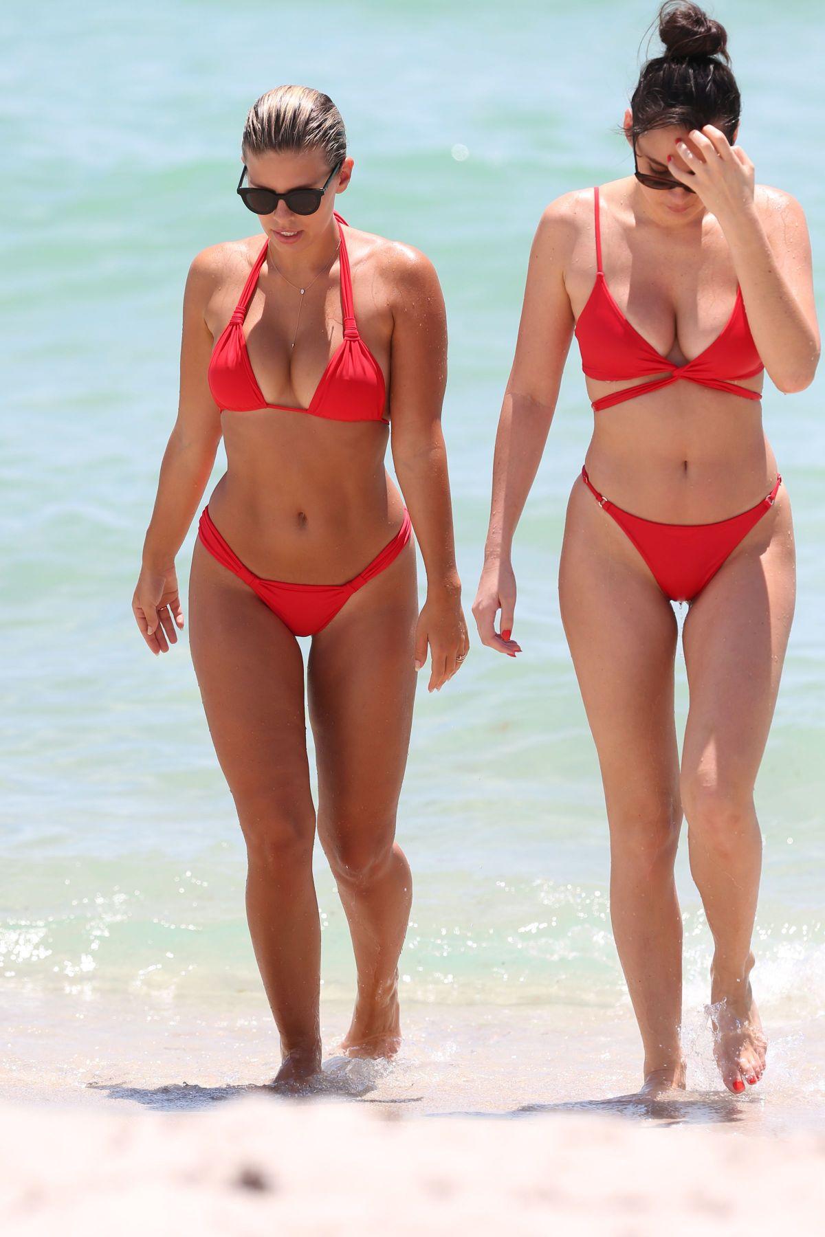 NATASHA OAKLEY and DEVIN BRUGMAN in Bikinis at a Beach in Miami 07/18/2017