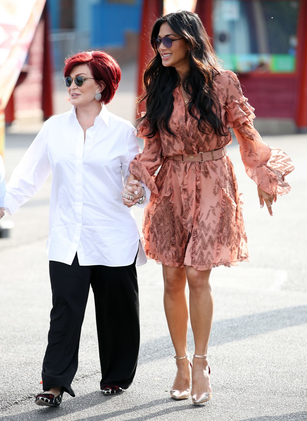 NICOLE SCHERZINGER and SHARON OSBOURNE at The X Factor Auditions in Surrey 07/09/2017