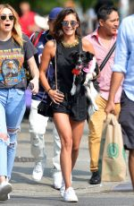 NINA DOBREV Out with Her Dog in New York 07/23/2017