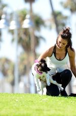NINA DOBREV with Her Puppy at a Local Park in Los Angeles 07/05/2017