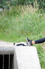 SANDRA KUBICKA in Leggings and Sports Bra Out Jgging in Sopot 07/08/2017
