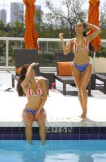 TAO WICKRATH and JULISSA NEAL in Bikinis at a Pool in Miami 07/04/2017
