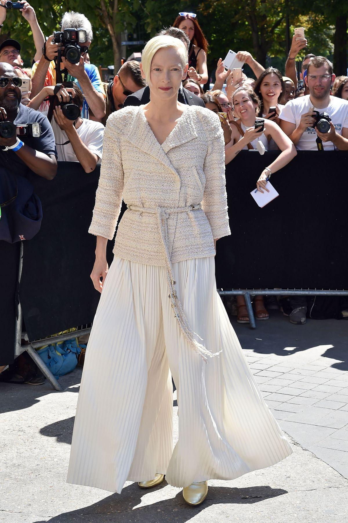 TILDA SWINTON at Chanel Fashion Show in Paris 07/04/2017