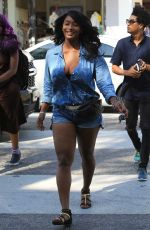 TOCCARA JONES in Denim Shorts Out in Beverly Hills 06/30/2017