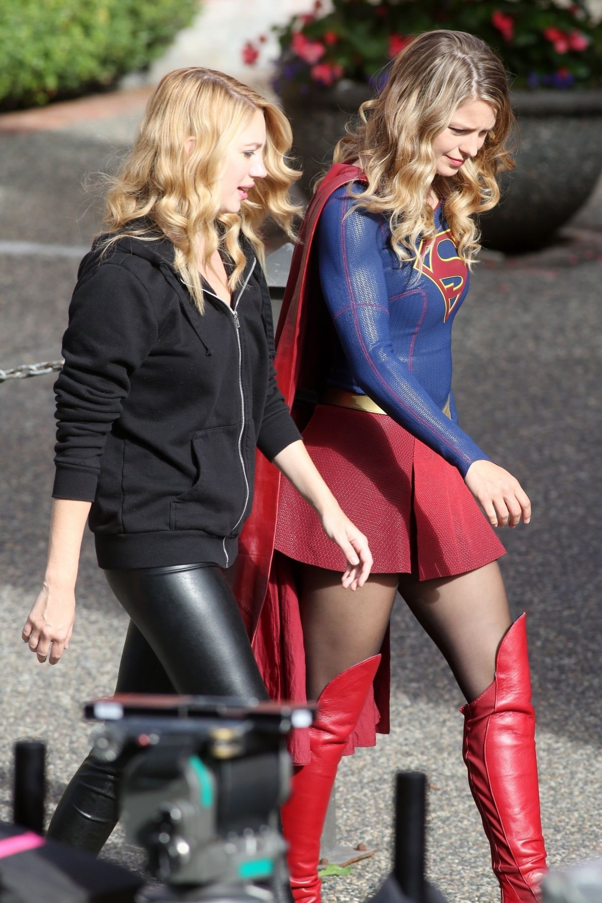 YAEL GROBGLAS and MELISSA BENOIST on the Set of Supergirl 07/25/2017