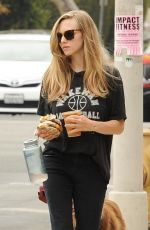 AMANDA SEYFRIED Out with Her Dog in Los Angeles 08/24/2017