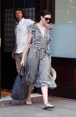 ANNE HATHAWAY Leaves Her Hotel in New York 08/25/2017