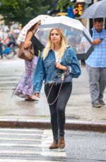 ASHLEY BENSON Out for a Walk in the Rain in New York 08/02/2017