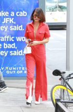 BELLA HADID All in Red Out in New York 08/25/2017