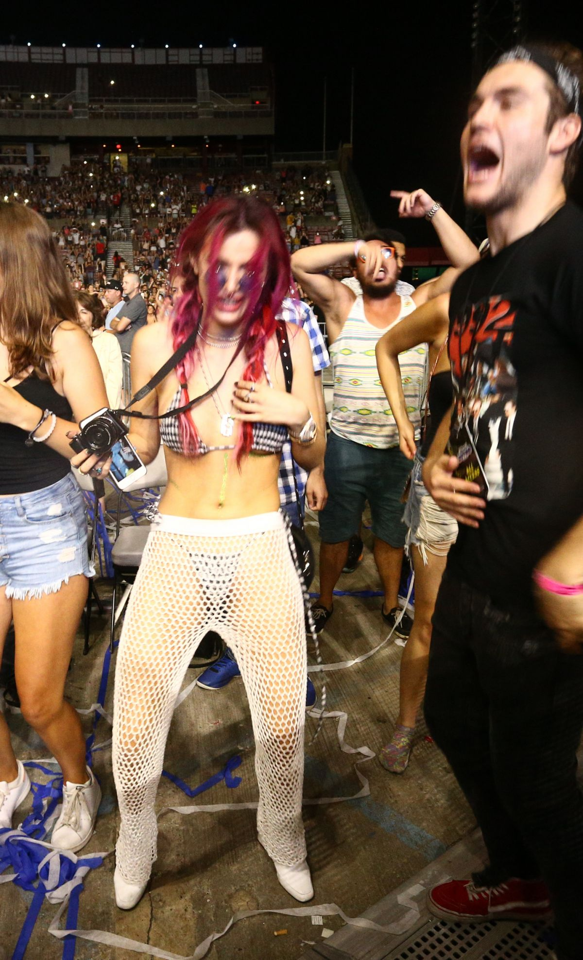 BELLA THORNE Dancing in the Crowd at Billboard Hot 100 Festival in New York 08/19/2017