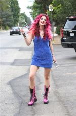 BELLA THORNE in a Fuzzy Blue Dress Out in Hollywood 08/02/2017