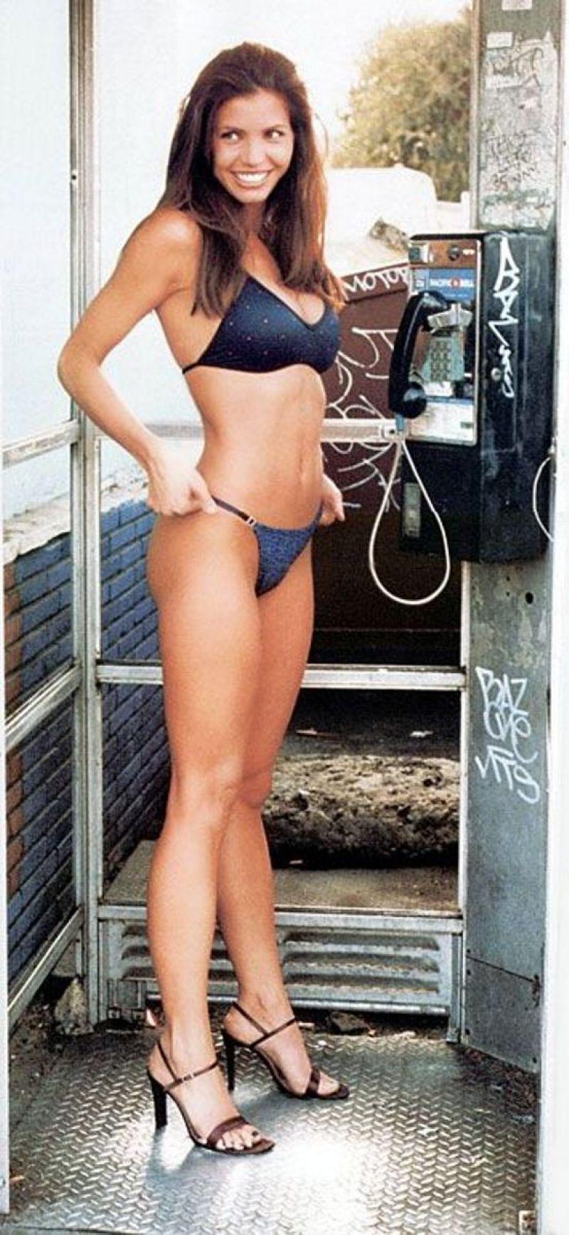 Charisma carpenter in a black bikini