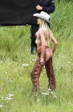 CANDICE SWANEPOEL and JOSEPHINE SKRIVER on the Set of VS Photoshoot in Aspen 08/13/2017